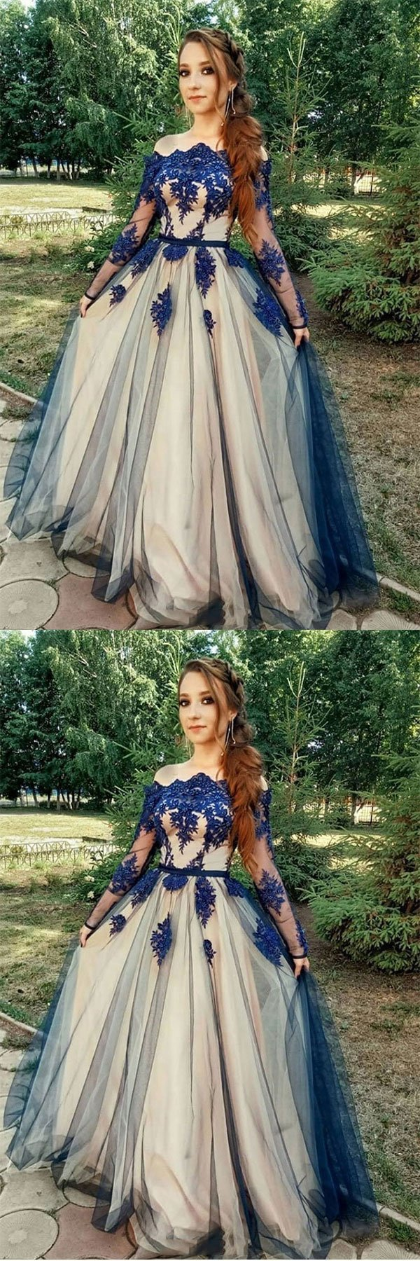 Beautiful Long Sleeves Blue Lace Tulle A Line Long Sleeve Formal Prom Dress,