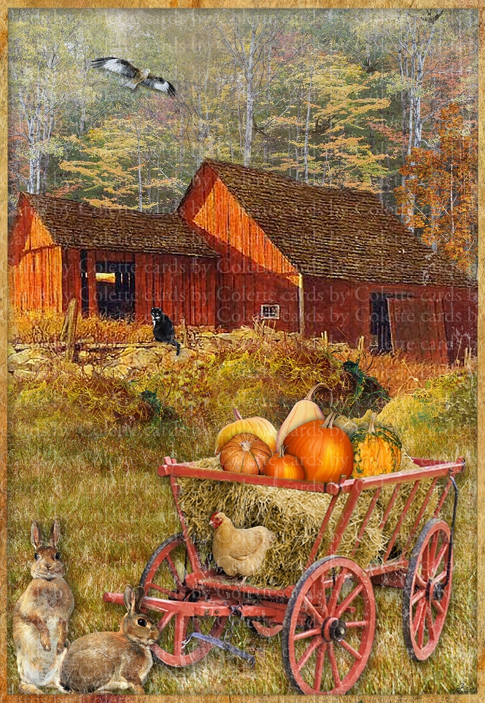 A Beautiful Fall Day Digital Collage Greeting Card2798