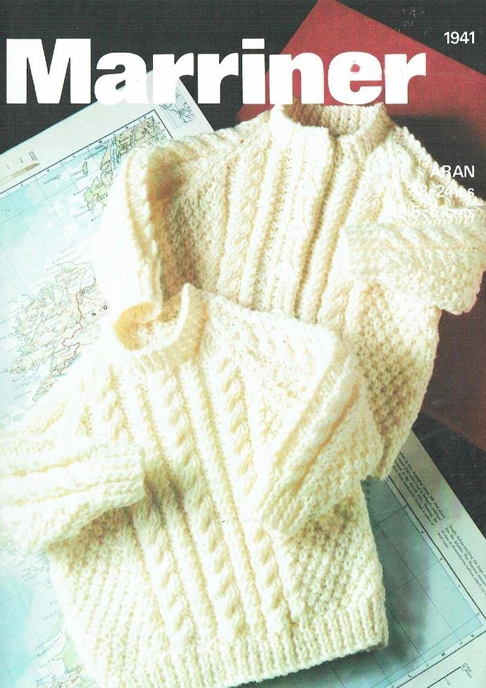 PDF Digital Download Vintage Knitting Pattern Baby Children's Aran Sweater and