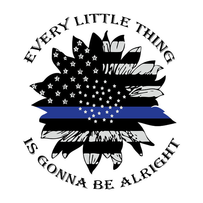 Back The Blue Every Little Thing Is Gonna Be Alright Png, Digital Dowload