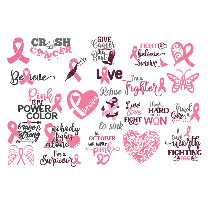 Breast Cancer Svg, Bundle, Cancer Awareness Svg, Cancer Svg, Cancer Ribbon svg