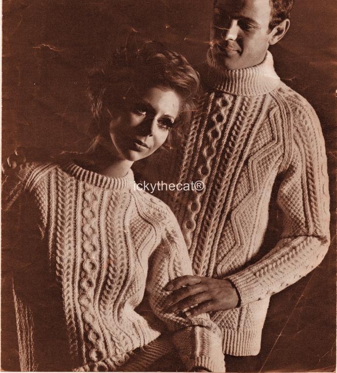 PDF Digital Download Vintage Knitting Pattern Womens Mens Aran Cable Sweater