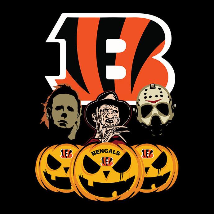 Cincinnati Bengals Halloween Horror Movie Pumpkin Svg, Jason Voorhees And Freddy