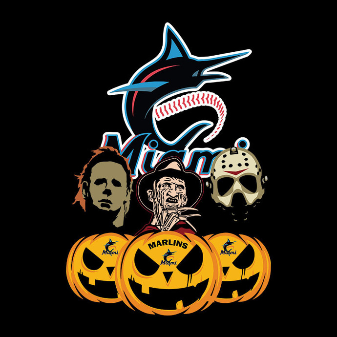 Miami Marlins Halloween Horror Movie Pumpkin Svg, Jason Voorhees And Freddy
