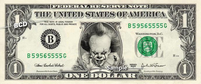 IT Clown on a REAL Dollar Bill Cash Money Collectible Memorabilia Celebrity