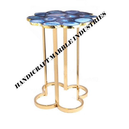 Blue Agate Table Top, Blue Agate Flower Shape Table, Kitchen Table, Hallway