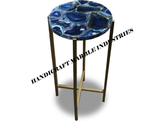 Round Blue Agate Table Top, Blue Agate Side Table, Blue Agate Coffee Table,