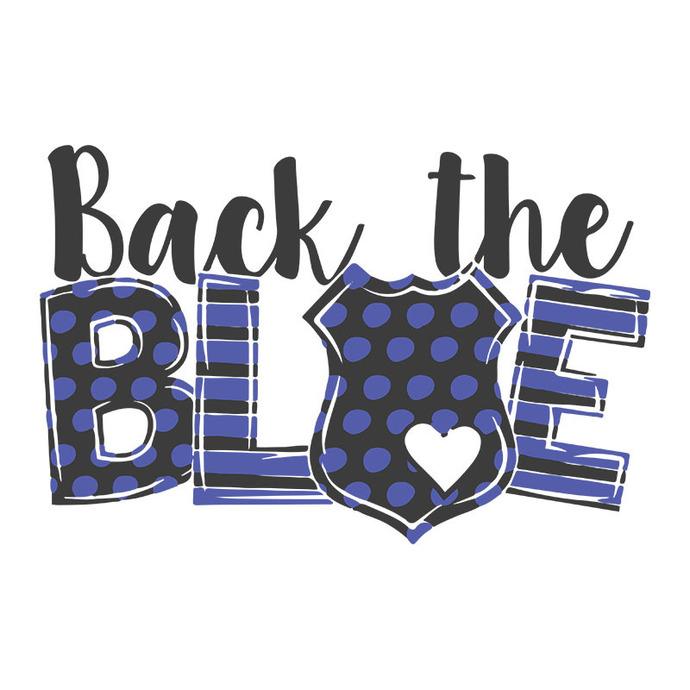 Back the blue police officer watercolor Digital download