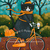 A Witchy Autumn Bicycle Ride Original Whimsical Cat Folk Art Painting