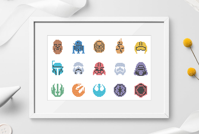 #186 Characters movie Space war Modern Cross Stitch Pattern, galactic space war,