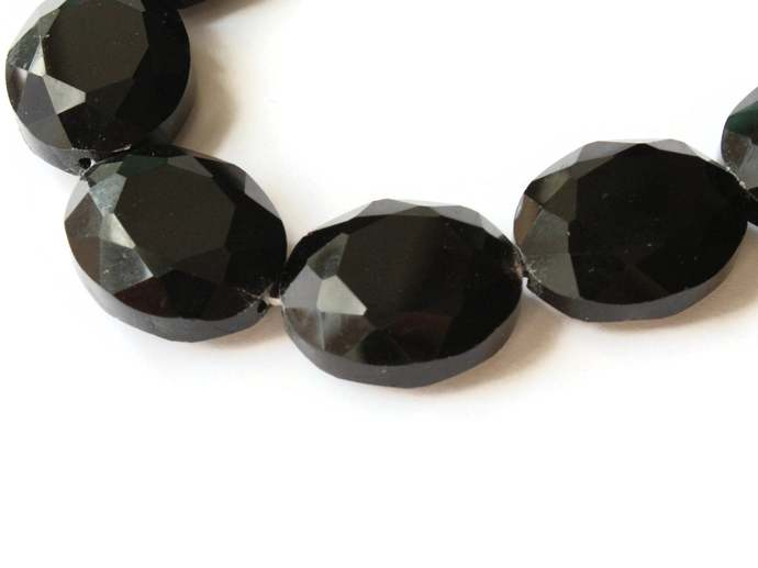 10 24mm Black Crystal Oval Beads Crystal Glass Beads Large Beads Faceted Flat
