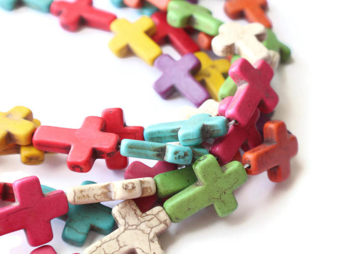 13 30mm Howlite Cross Beads Gemstone Beads Dyed Beads Mixed Color Beads