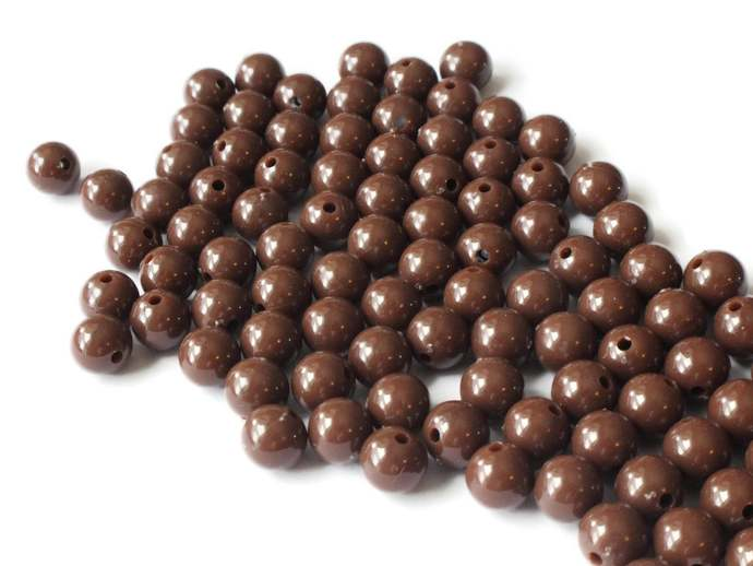 100 8mm Beads Round Brown Beads Vintage Plastic Beads Beading Supplies Vintage