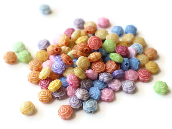 100 Assorted Color Rose Flower Beads 8x5mm Beads Small Plastic Beads Acrylic