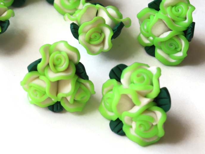 10 Green Polymer Clay Flower Beads Jewelry Making Beading Supplies Loose Beads