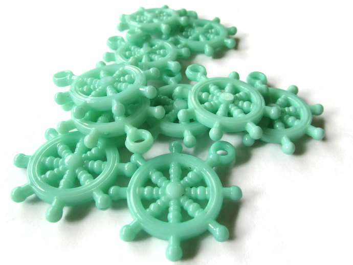 10 Green Charms Ship Wheel Bead Helm Charm Plastic Beads Pirate Beads Boat