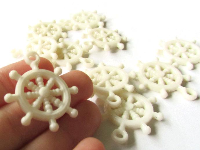 10 Ivory Charms Ship Wheel Beads Ship Helm Charm  Pirate Beads Plastic Beads