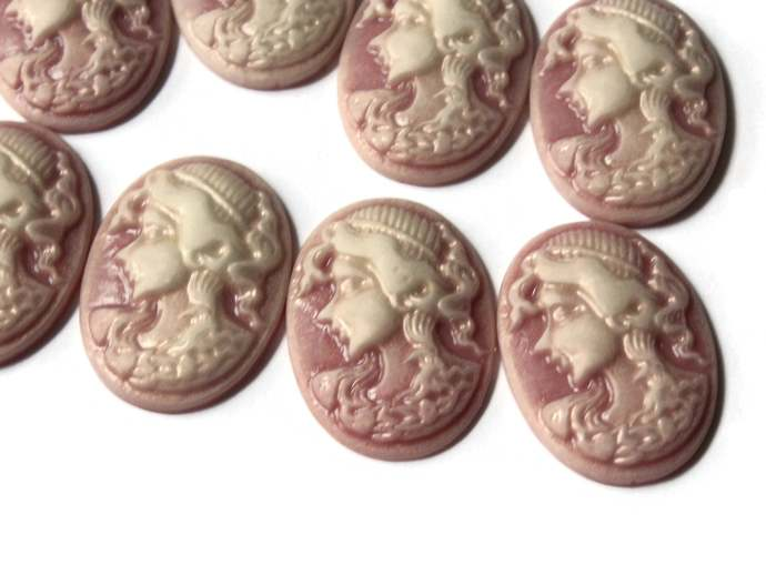 10 25mm x 18mm Mauve Pink Cameo Cabochons Woman Face Cameo Cabs Resin Cabochons