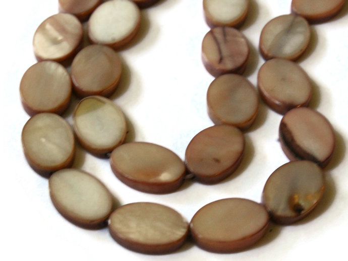 14mm Brown Mother of Pearl Oval Disc Beads Shell Coin Beads Jewelry Making