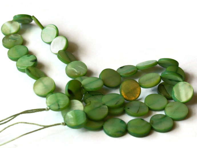 10mm Green Mother of Pearl Disc Beads Jewelry Making Beading Supplies Seashell