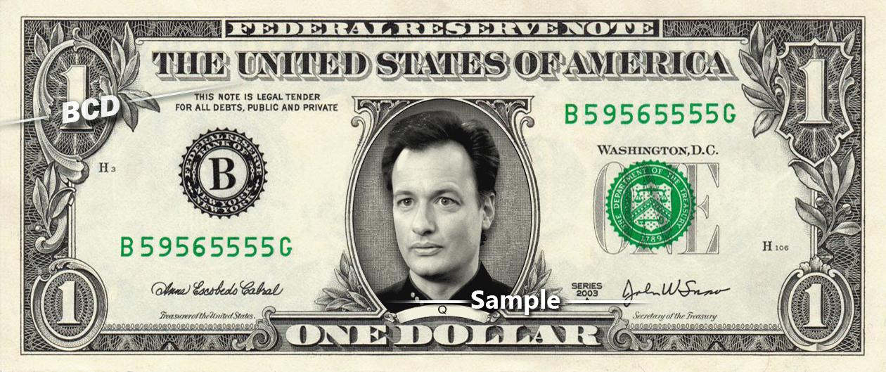 Q Star Trek on a REAL Dollar Bill Cash Money Collectible Memorabilia Celebrity
