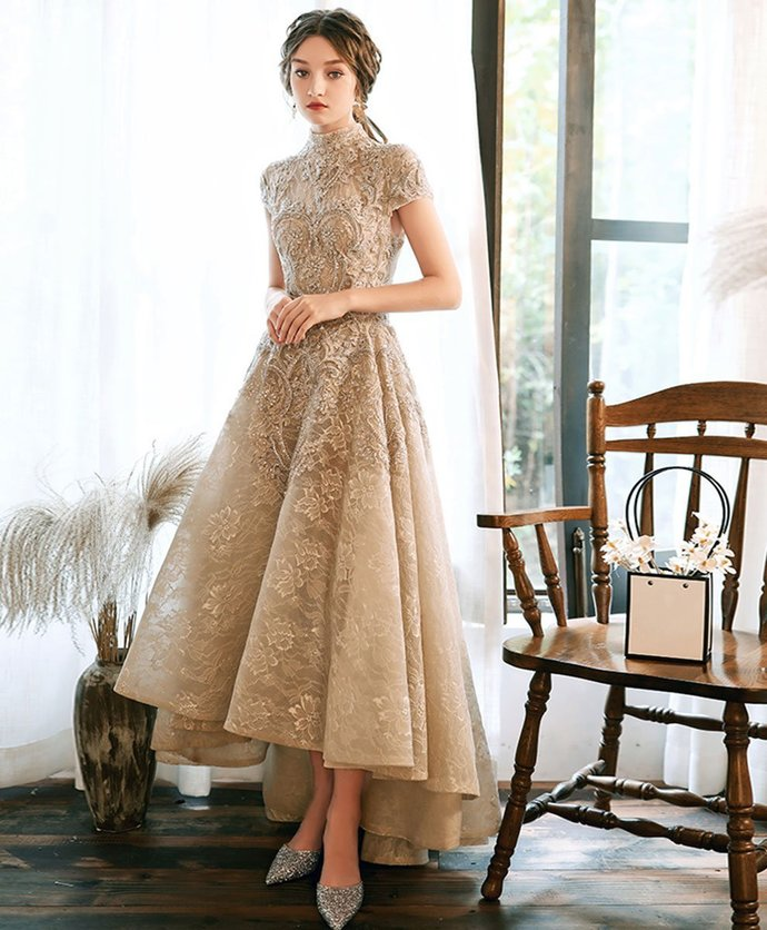 Champagne Lace High Low Short Sleeves Wedding Party Dress, High Neckline