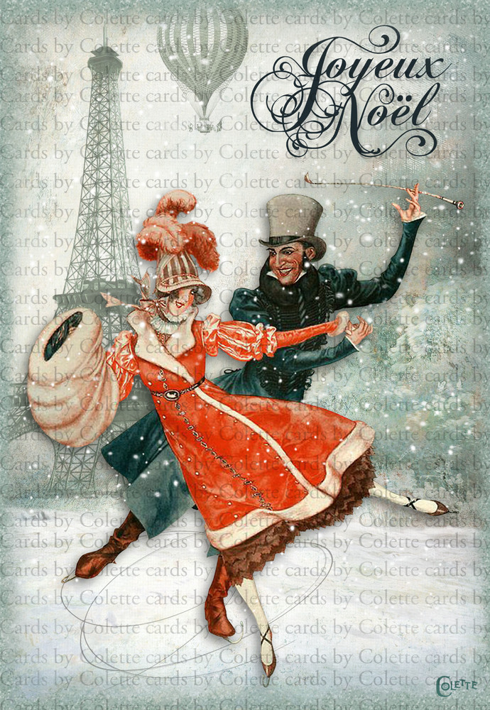 Christmas Skaters in Paris Digital Collage Greeting Card3002