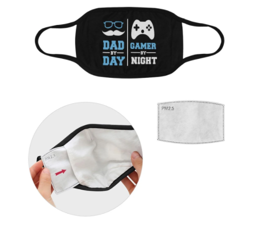 Dad By Day Gamer By Night Funny Washable Reusable Face Mask With Filter Pocket,