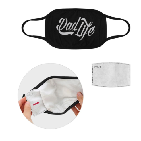 Dad Life Funny Cool Fathers Day Washable Reusable Face Mask With Filter Pocke,