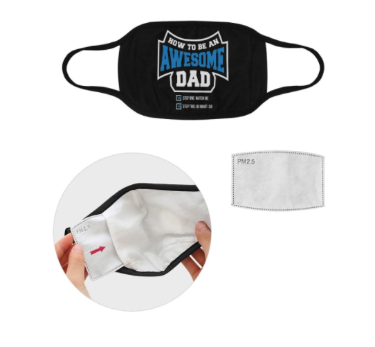 How To Be An Awesome Dad Funny Washable Reusable Face Mask With Filter Pocket,