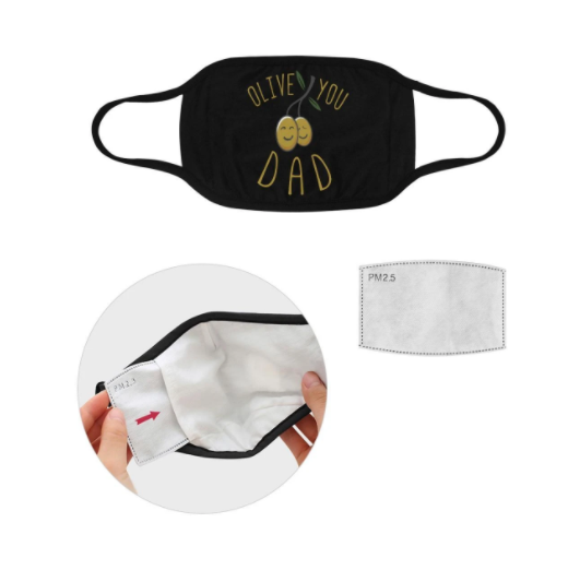 Olive You Dad Funny Fathers Day Washable Reusable Face Mask With Filter Pocke,