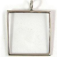 1.5x1.5in Square, Silver Finish Glass Frame Pendant