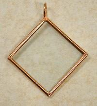 2x2in Diagonal Square, Copper Glass Frame Pendant