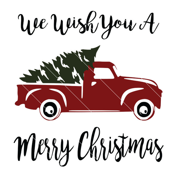 Merry Christmas Red Truck svg, and Tree Digital SVG file