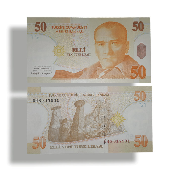 "Turkey 50 YTL ""New Lira"" UNC banknote 2005"