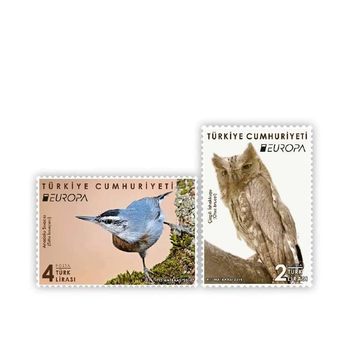 National Birds EUROPE Stamps set of 2 MNH Turkey 2019