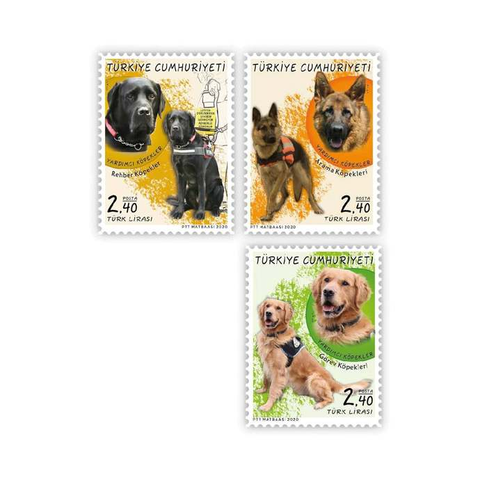 AUXILIARY DOGS Stamps set of 3 MNH Turkey 2020