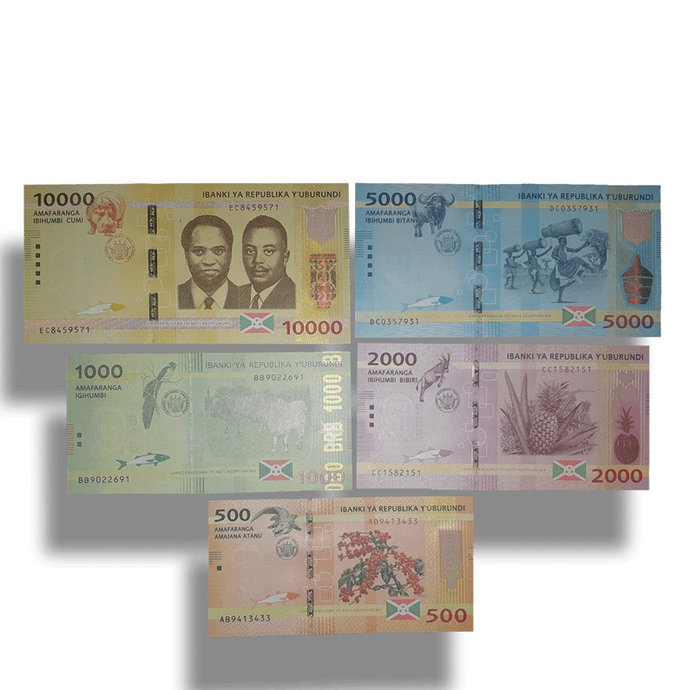 BURUNDI 500,1000,2000,5000,10000 Francs complete UNC banknotes set 2015