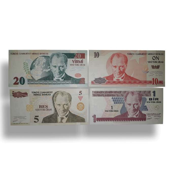 """Turkey Set of 4 UNC  Banknotes 1,5,10 and 20 YTL """" new Lira"""" 2005 8th issue"""