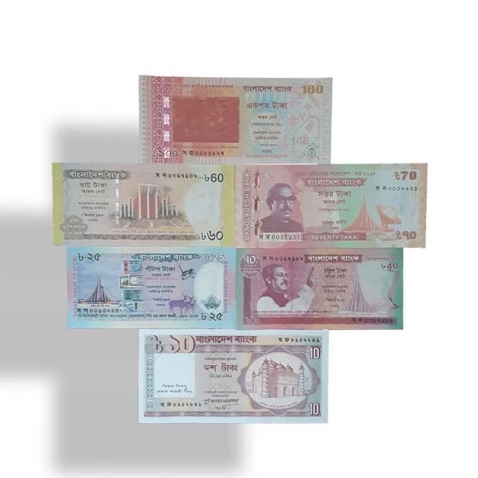 BANGLADESH commemorative banknotes set 10,25,40,60,70,100 Taka UNC