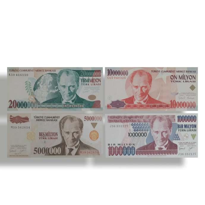 Turkey  1000000 to 20000000 million UNC Banknotes set