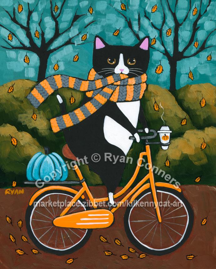 An Autumn Bicycle Ride Original Whimsical Cat Folk Art Painting