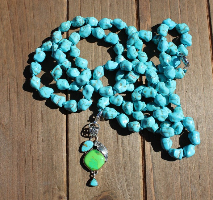 Long Beaded Turquoise Necklace, with pendant, Bohemian Glam Hand tied Jewelry,