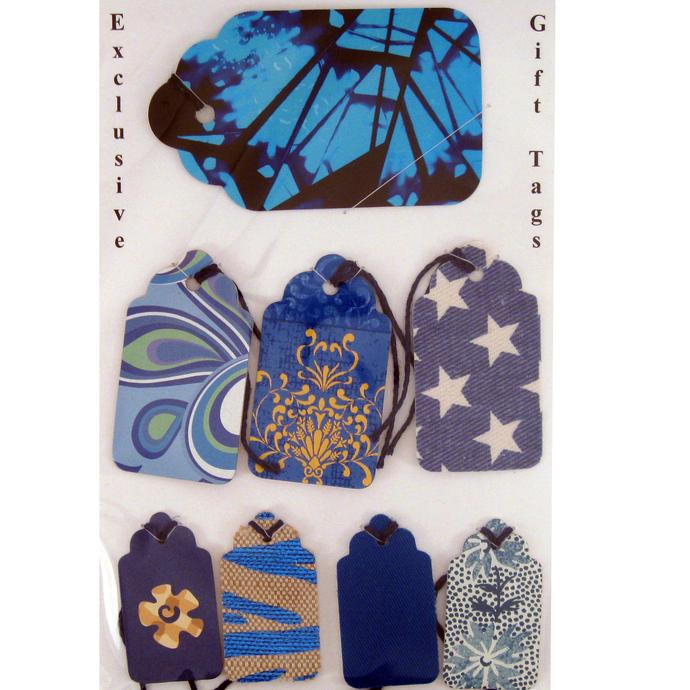 Handmade Blue Themed Gift Tag Set