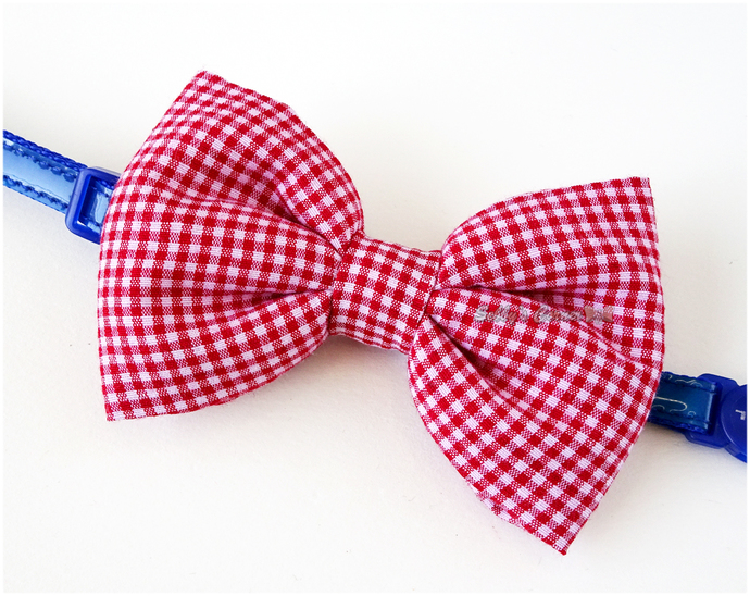 Red Gingham Print Bow Tie for Cats, Small Dog Accessories, Pet Attire, Plaid