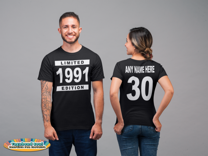 1991 Limited Edition, 30 years, Personalized Name & Age, Personalized Front &