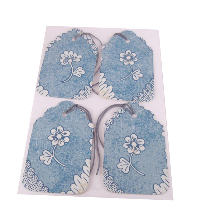 White Flower on Blue Wallpaper Gift Tags