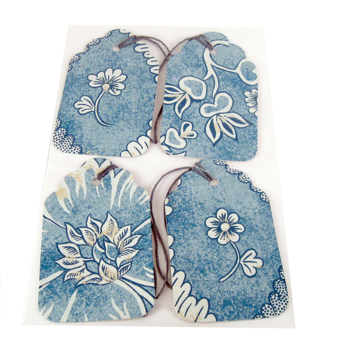 Blue Wallpaper Flower Gift Tag Set