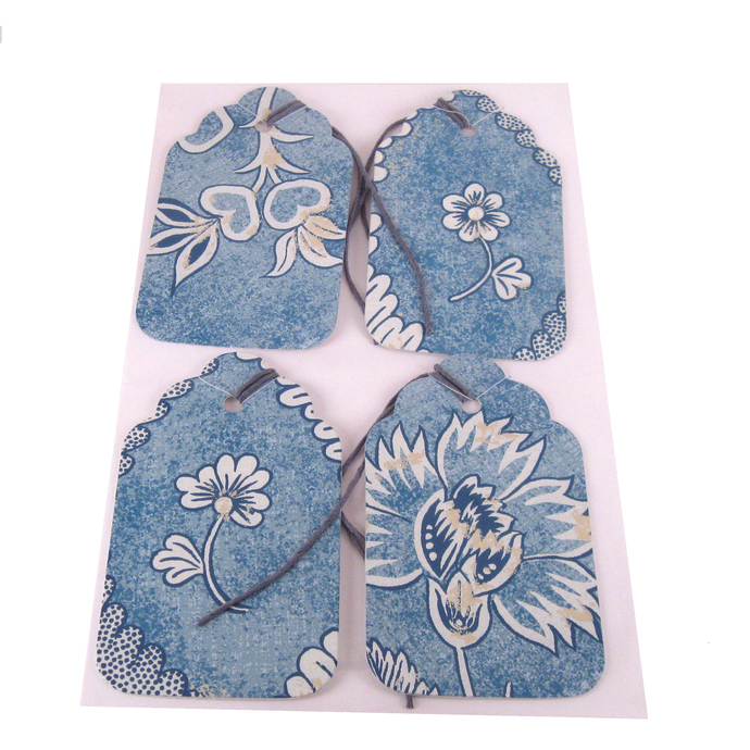 Blue Flower Gift Tag Set from Recycled Wallpaper