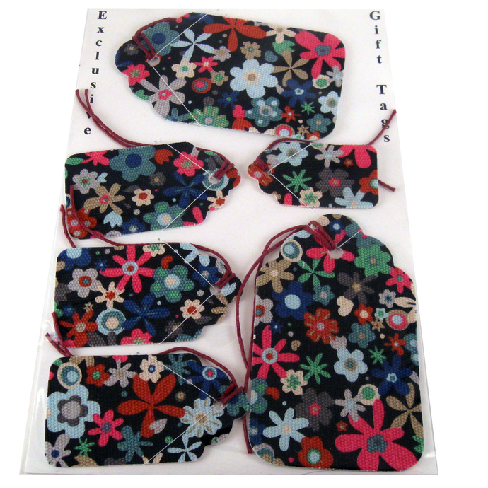 Colorful Flowered Fabric Gift Tag Set